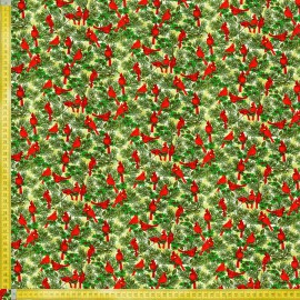 TELA DE PATCHWORK FABRI QUILT - SEASONS GREETINGS CARDINALS CREAM